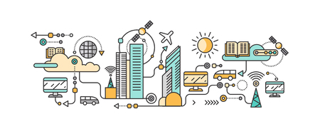 Illustrazione per Smart technology in infrastructure city. Icon and network system, communication innovation town, connection and future, control information, internet. Smart industry city system development management - Immagini Royalty Free