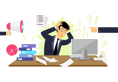 Illustrazione per Stressful condition icon flat isolated. Stress health person, disorder and problem, businessman depression, mental attack psychological, busy and chaos illustration. Stressful condition concept - Immagini Royalty Free