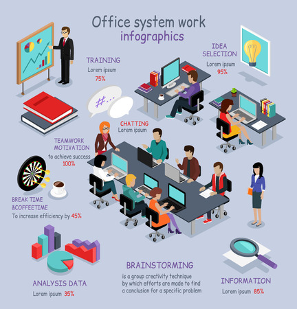 Illustration for Isometric office system work infographic. 3D office interior, office desk, business and office people, office room, analysis data, brainstorming teamwork and training, 3D selection idea, break time - Royalty Free Image