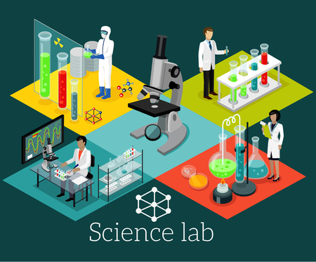Illustration pour Science lab isomatric design flat. Science and scientist, science laboratory, lab chemistry, research scientific, microscope and experiment, chemical lab science test, technology illustration - image libre de droit