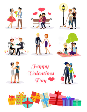 Illustration pour Happy valentine day couple on date. Couple lover on valentine day, happy valentine, couple in love young couple, shopping love happy couple, woman man restaurant, holiday valentine day man give flower - image libre de droit