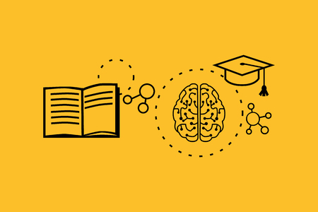 Illustration pour Learning ability concept design. Strategy education, development business skill, solution work, success learn, motivation teaching, training. Back to shool. Thin line black on yellow - image libre de droit