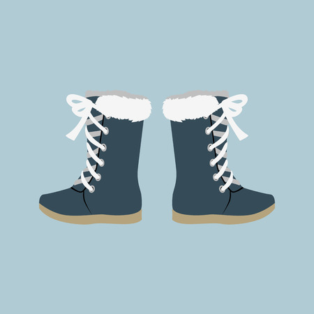 Illustration for Winter shoes. Winter shoes isolated. Felt boots. Leather shoes. Boots with shoelace. Pair of shoes. Winter boots. Winter boot on a isolated background. Mountain boot. Vector shoes, boot - Royalty Free Image