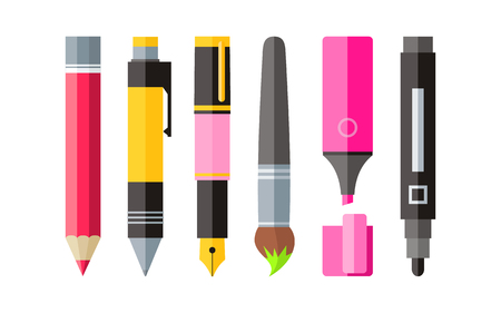Illustration pour Painting tools pen pencil and marker flat design. Painting and tool, drawing tools, painting brush, paint tools, pencil and marker, pen drawing, stationery painting tools, paintbrush illustration - image libre de droit