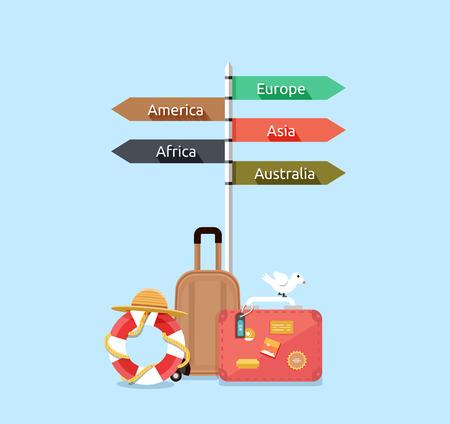 Illustration pour Baggage travel asia america, europe, africa, australia. Travel signpost, direction travel guide, information destination travel, tourism travel way, route travel, guidepost world travel illustration - image libre de droit