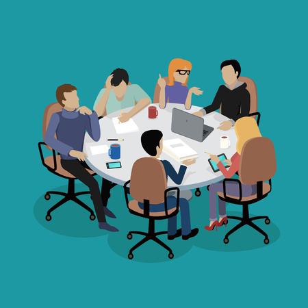 Ilustración de Meeting and discussion briefing. - Imagen libre de derechos