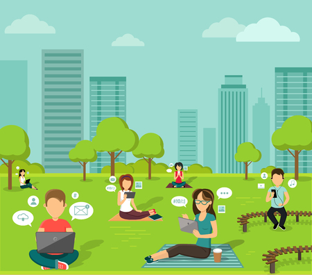 Ilustración de People in the park online web design flat. - Imagen libre de derechos
