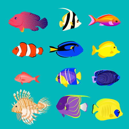 Ilustración de Set of sea fish color design flat. - Imagen libre de derechos