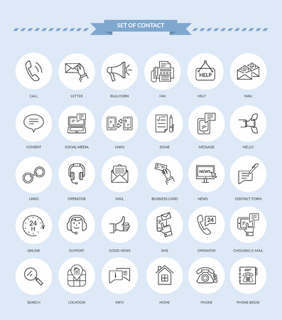 Photo pour Set of thin, lines, outline icons of contact. Support concept set. Feedback icon. Contact icon set. Mail and clock, operator and contact us, business card and news. Vector black icons - image libre de droit