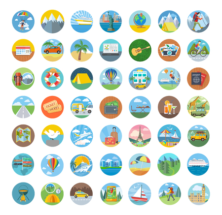 Ilustración de Set of travel icon flat design. Transportation icons, travel and map icon, icon tourism, compass and globe, vacation summer, beach and car icon, holiday illustration - Imagen libre de derechos