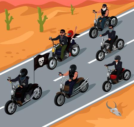Ilustración de Bikers riding on the highway design. Bike and rider road motorcycle biker, motorbike travel, highway speed, adventure freedom bikers driver, motion transport riding vector illustration - Imagen libre de derechos