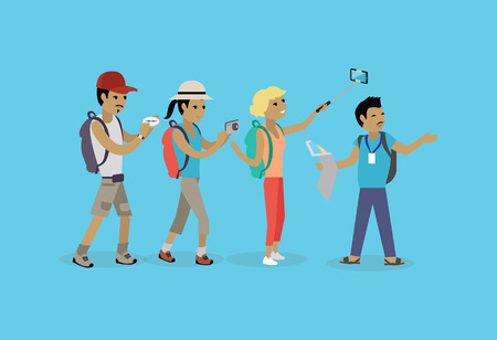 Ilustración de Tourists people group flat style. Travel and tourist group, tour and tourist isolated guide, vacation and tourist people summer leisure vector illustration. Group of tourists - Imagen libre de derechos