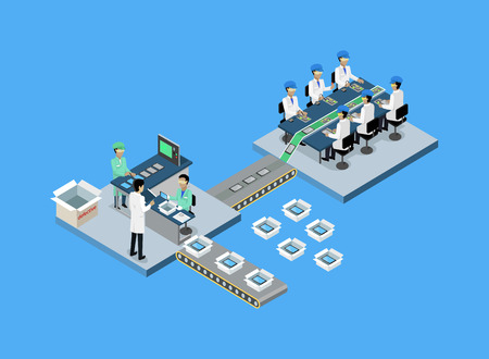 Ilustración de Production tablet or smartphone 3d isometric. Production line, manufacturing and factory, smartphone and tablet, mobile phone, process production, conveyor electronic industrial illustration - Imagen libre de derechos