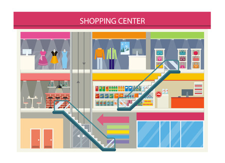 Illustration pour Shopping center buiding design. Shopping mall, shopping center interior, restaurant and boutique, store and shop with cafe, architecture retail, urban structure commercial vector illustration - image libre de droit