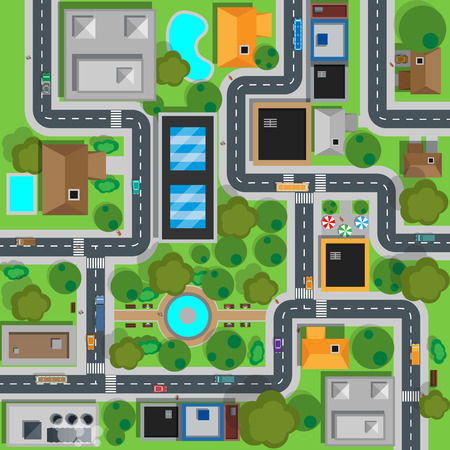 Illustration pour Map of city top view design flat. Map suburban settlement with private houses, narrow roads with cars and natural park design flat. Cars drive on sleeping residential district. Vector illustration - image libre de droit