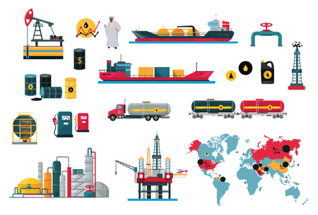 Illustration pour Set of icons concept of oil design. Oil technology industry business, and energy power fuel production drilling and, transportation ship tanker lorry and train flat style. Vector illustration - image libre de droit