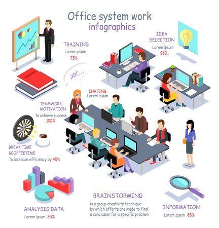 Illustration pour Isometric office system work infographic. 3D office interior, office desk, business and office people, office room, analysis data, brainstorming teamwork and training, 3D selection idea, break time - image libre de droit