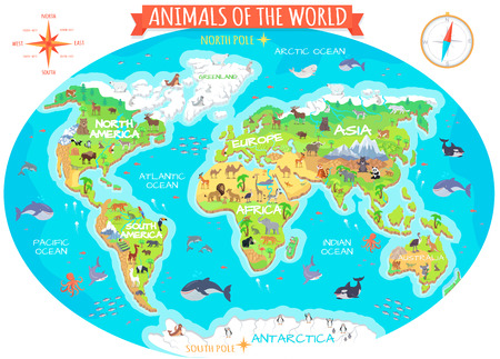 Illustration pour Animals of the world vector. Flat style. World globe with map of continents and different animals in their habitats. Northern, african, american, european, asian fauna. For children s book design - image libre de droit