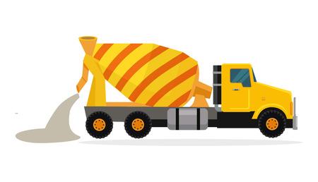Illustration pour Concrete mixing truck vector. Flat design. Industrial transport. Construction machine. Yellow lorry with mixer pour out cement. For construction theme illustrating, building companies ad. On white - image libre de droit