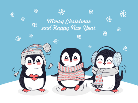 Illustration pour Merry Christmas and Happy New Year poster. Happy winter friends. Three little penguins in winter clothes. Winter landscape with cartoon characters. Funny creatures in flat style design. Vector - image libre de droit