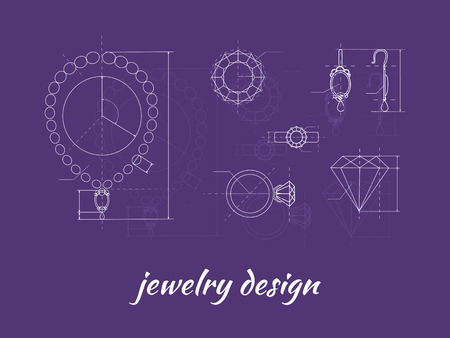 Illustration pour Jewelry design banner. Ring, earring and necklace graphic scheme. Diamond shape. Blueprint outline jewelry. Craft jewelry making. A handmade jeweler process, manufacture of jewelery - image libre de droit