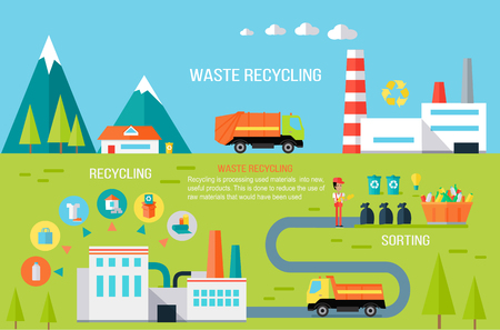 Ilustración de Waste Recycling Infographic Vector Concept. - Imagen libre de derechos