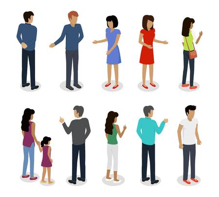 Ilustración de Set of Customers and Sellers Characters Vector - Imagen libre de derechos