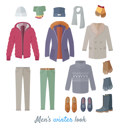 Illustration for Men s Winter Look Vector Concept In Flat Design - Royalty Free Image
