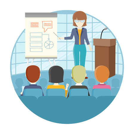 Illustration pour Business lecture concept vector. Flat design. Woman holding seminar near board with infographics. Certification training in office. Illustration for educational companies, career courses ad. - image libre de droit