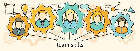Illustration pour Team skills banner. Avatar in gear. - image libre de droit