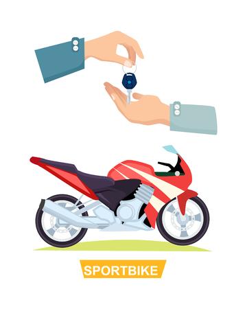 Illustration pour Hand Passing Key. Process of Buying Sportbike - image libre de droit