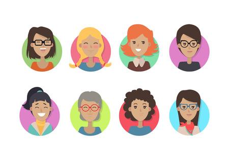 Ilustración de Woman Face Emotive Vector Icons in Flat Style Set - Imagen libre de derechos