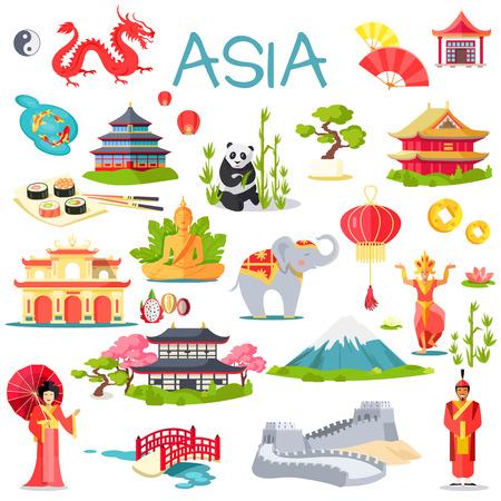 Illustration pour Asia Collection of Symbolic Elements on White - image libre de droit