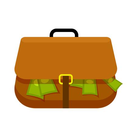 Illustration pour Brown Briefcase Full of Green Money Flat Theme - image libre de droit