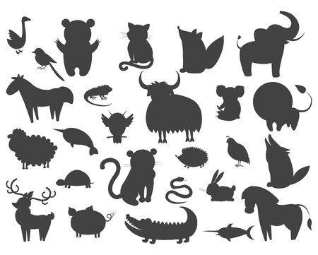 Ilustración de Set of Cartoon Animal Pet and Wild Beasts Vector - Imagen libre de derechos