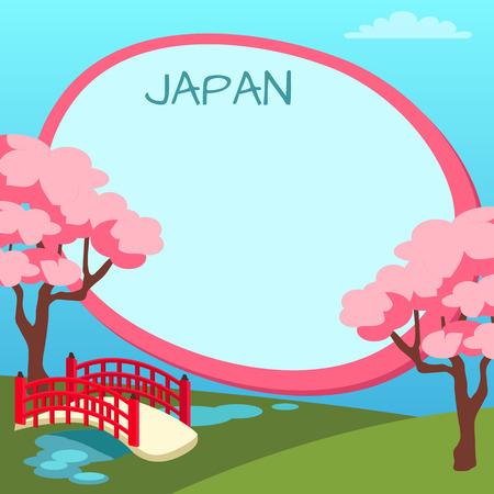 Illustration pour Japan Touristic Vector Concept with Copyspace - image libre de droit