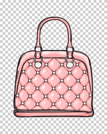 Illustration pour Trendy Leather Pink Bag Isolated Illustration - image libre de droit