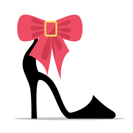 Ilustración de Womens Shoe with High Stiletto Heel and Bow Vector - Imagen libre de derechos