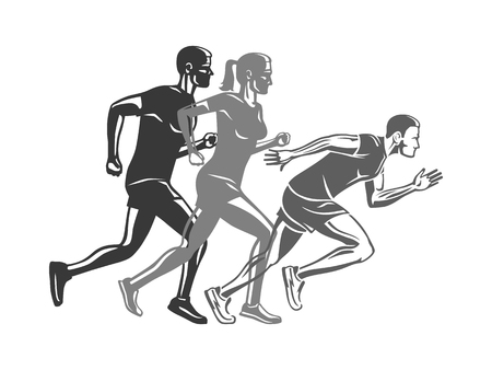 Ilustración de Set of Runners Silhouettes. Logo for Sport Company - Imagen libre de derechos