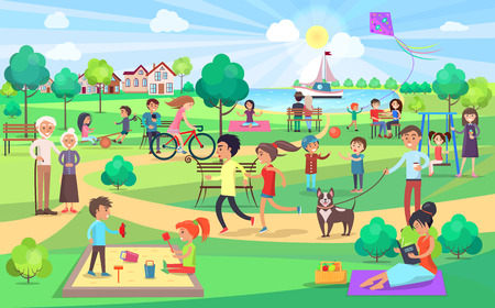 Ilustración de Big Green Park with People of all Ages on Nice Day - Imagen libre de derechos