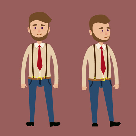 Illustration for Bearded Male Character in Red Tie Illustration - Royalty Free Image