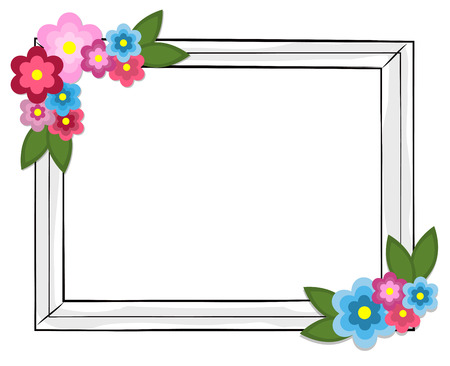 Illustration for Rectangular Photo Frame Colorful Flowers Isolated - Royalty Free Image