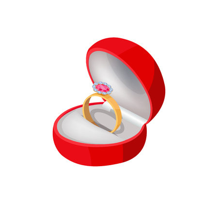 Illustration pour Engagement Ring in Red Box with Precious Stone - image libre de droit