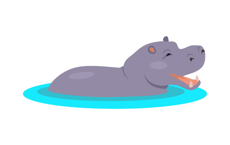 Illustration for Hippo Cartoon Icon in Flat Design - Royalty Free Image