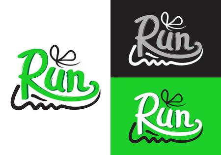 Ilustración de Running Shoe Symbols on Different Background. - Imagen libre de derechos