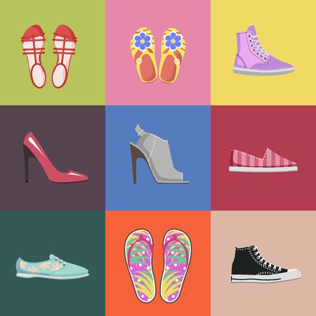 Illustration pour Fashionable Shoes Collection Advertising Poster - image libre de droit