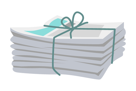 Illustration for Pile of Newspapers Bound with String on White - Royalty Free Image