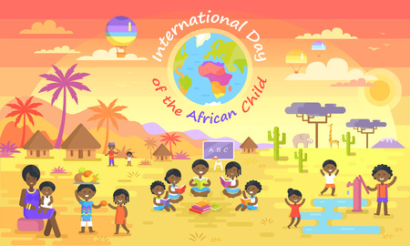Illustration pour International day of African child vector illustration. Small black kids playing, reading books, sharing fruit on elephants and palm trees background. - image libre de droit