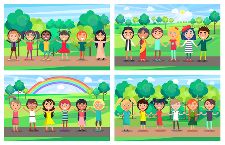 Illustration for Children of different nationalities hold hands together and stand in line with trees, sun and rainbow on background. Kids unity vector illustration. - Royalty Free Image