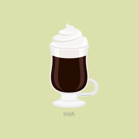 Illustration for Glass Mug with Irish Coffee Flat Vector - Royalty Free Image
